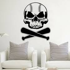 Bat Skull Wall Decal Sports Baseball Vinyl Wall Stickers Teen Room Decoration Art Mural Wall Decor For Baby Bedroom Boy Wall Sticker Quotes Wall Stickers From Joystickers 12 66 Dhgate Com