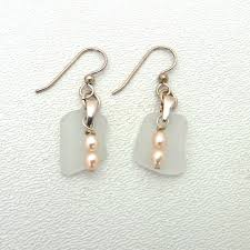 white sea glass earrings with pink