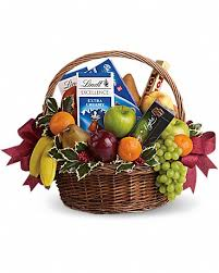 fruits and sweets basket in