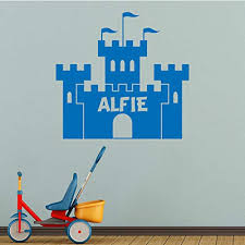 Personalised Any Name Castle Wall Decals For Kids Bedroom Playroom Baby Boy Nursery Vinyl Stickers Removable Decorate 59x56cm Educational Toys Planet