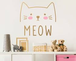 Waliicorners Cute Cat Decal Wall Sticker Animal Wall Decor Removable Vinyl Sticker Cat Wall Mural Sticker Bedroom Kids Bedroom Decor Ay0139 Waliicorner S Store