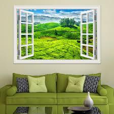 3d Window Decal Wall Sticker Green Tea Garden Beautiful Landscape Wallpapers Pvc Vinyl Sticker Mural Art Home Decor White Vinyl Wall Decals White Wall Decals From Asenart 10 26 Dhgate Com