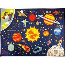 Kc Cubs Playtime Collection Outer Space Safari Road Map Educational Learning Area Rug Carpet For Kids And Children Bedrooms And Playroom 3 3 X 4 7 Walmart Com Walmart Com