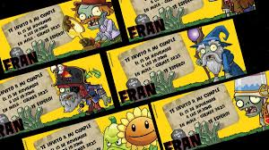 Tarjetas Invitaciones Cumpleanos Infantil Plants Vs Zombies 22