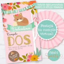Invitacion Personalizada No Editable Zorrito Nena Cumpleanos