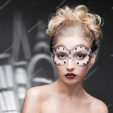young woman in fantasy makeup stock