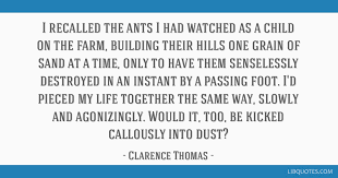 i recalled the ants i had watched as a child on the farm building