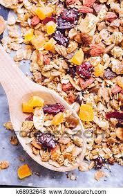 organic homemade granola stock photo