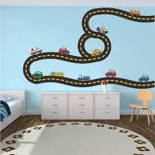 Cars And Race Track Wall Decal Kid S Bedroom Racetrack Wall Decor Removable Car Stickers B41 Cars Room Kids Wall Decals Race Car Bedroom