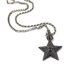 sterling silver black diamond star