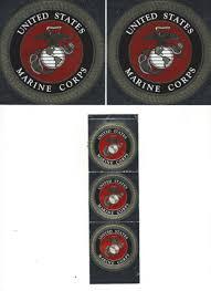 Two United States Marine Corps Metallic Window Sticker 1 3 4 Inch Round For Sale Online Ebay