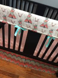 baby girl crib bedding set in pink mint