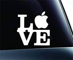 Amazon Com Love With Apple Symbol Decal Funny Car Truck Sticker Window White Automotive