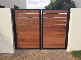 Designer Fence Steel Frame Wooden Swing Gates Omega Metalworks