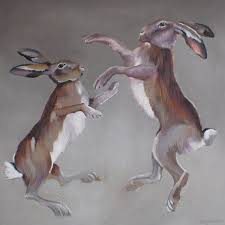 boxing hares painting mad march