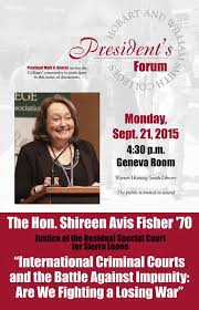 """HWS Colleges on Twitter: """"The Hon. Shireen Avis Fisher '70 is guest of the  President's Forum today at 4:30 in the Geneva Room! http://t.co/MgyzXQG8FM"""""""