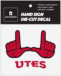 Amazon Com Ncaa College Hand Sign 5 X5 Vinyl Die Cut Car Decal Sticker Utah Utes Arts Crafts Sewing