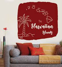 Large Wall Vinyl Decal Map Of Hawaiian Islands Palm Tropical Decor N825 Ebay