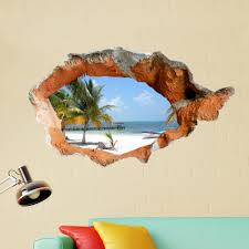 3d Beach Wall Decals 38 Inch Removable Sea Wall Art Stickers Home Decor Sale Banggood Com
