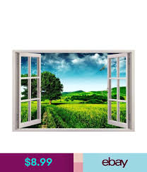 Green Meadow 3d Window View Decal Wall Sticker Decor Art Mural Fantasy Nature Sticker Decor Mural Window View