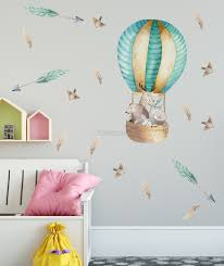 Kids Watercolor Hot Air Balloon With Animals And Colorful Feathers Wall Decal Sticker Wall Decals Wallmur