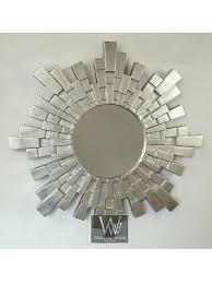 round sunburst mirror silver metal