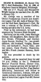 19940217 Duane Wright George Obituary - Newspapers.com