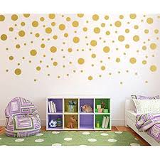Gold Wall Decal Dots 200 Decals Easy To Peel Easy To Stick Safe On Painted Walls Removable Metallic Vinyl Gold Wall Decals Wall Decals Polka Dot Decor