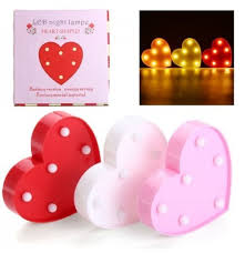 Cute 11 Led Marquee Heart Night Light Battery Lamp Baby Kids Bedroom Home Decor