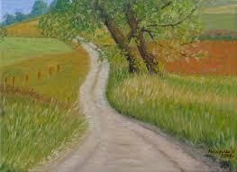 Droga przez pola, 40x30cm | Obrazy olejne - sprzedaż, malowanie ...