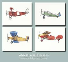 Vintage Prints 8x10 Watercolor Prints Set Of 4 Vintage Airplanes Airplane Nursery Prints