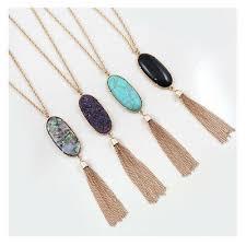 hot long tassel molten pendant necklace