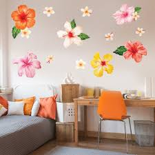 Tropical Hibiscus Plumeria Watercolor Wall Decal Tropical Hawaiian Flower Wall Mural By Chromantics