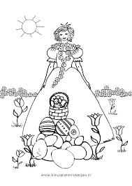 Paas Prinses Met Paasmand Kleurplaat Kleurplaten Voor Jou