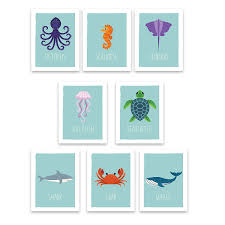 Amazon Com Ocean Animals Wall Cards Nautical Nursery Room Decor Kids Educational Marine Art Perfect Toddler Or Baby Shower Gift Set Of Eight 5x7 Prints For Classrooms Daycare And Playrooms Baby