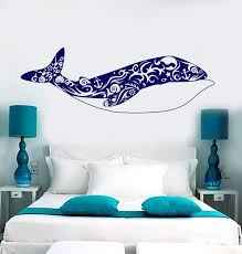 Vinyl Wall Decal Big Whale Art Shells Ocean Sea Style Stickers Unique Wallstickers4you