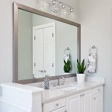 modern bathroom features a silver