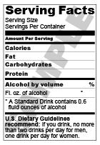 alcohol nutrition facts providing