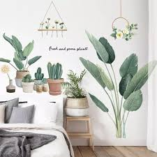 Wall Stickers Green Plant Leaves Flower Pot Kids Bedroom Living Room Decor Warm Self Adhesive Wall Paper Decoration Vinyl Decals Wall Stickers Aliexpress