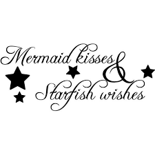Mermaid Kisses Starfish Wishes Vinyl Wall Decal Quotes 15 Liked On Polyvore Featuring Home Ho Mermaid Wall Decals Vinyl Wall Decal Quote Mermaid Wall Art