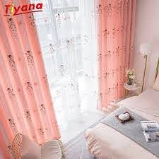 Embroidery Butterfly Blackout Curtains For Baby Girls Bedroom Pink Princess Cartoon Curtains For Living Room Children S262 30 Curtains For Butterfly Blackout Curtainscartoon Curtains Aliexpress