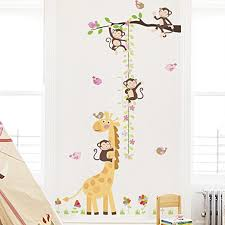 Amazon Com Amaonm Removable Monkeys And Giraffe Height Chart Wall Decals Tree Branch And Flower Growth Ruler For Kids Rooms Bedroom Boys And Girls Rooms Nuersery Art Decor Living Room Birds Home
