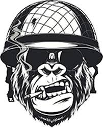 Amazon Com Divine Designs Cool Black And White Gorilla Monkey Soldier Cartoon Vinyl Decal Sticker 4 Tall Automotive