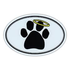 Oval Car Magnet Dog Paw Print W Angel Halo Memorial Bumper Sticker Decal 6 X 4 Wish