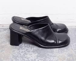 90s black leather mules block heel