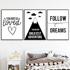 Nordic Black Typography Adventure Quotes Posters Kids Room Decor Canvas Painting