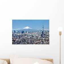 Tokyo Skyline Mount Fuji Wall Decal Wallmonkeys Com