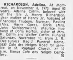 Obituary for Adeline RICHARDSON - Newspapers.com