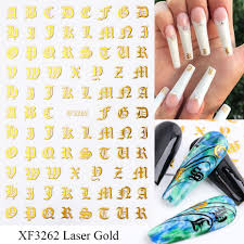 Letter 3d Nail Art Stickers Applique Laser Gold Letter Black Character Nail Glue Sticker Decal Uv Gel Polish Manicure Accessories Pretty Nails Acrylic Nail Designs From Wl201415 0 27 Dhgate Com