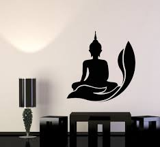 Vinyl Wall Decal Buddhism Zen Meditation Asian Religion Lotus Pose Sti Wallstickers4you